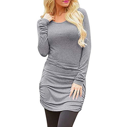 NEEKEY Womens Tops Women's Casual Long Sleeve Slim Ruched Tunic T-Shirt Dress Mini Dress(XL,Gray)