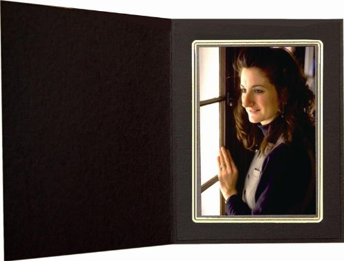 Black Cardboard Photo Folder with gold border for 4x6 - Pack of 50 by shopwise