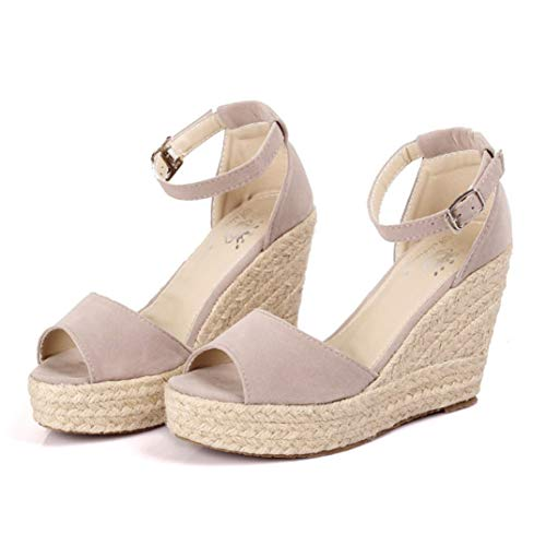 - JOYBI Women Casual Platform Espadrilles Sandals Buckle Strap Fish Mouth Breathable Wedges High Heels Sandal