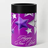 Society6 Stainless Steel Can Cooler, Size 12oz, Fucshia and Purple Happy New Year Shooting Stars by taiche