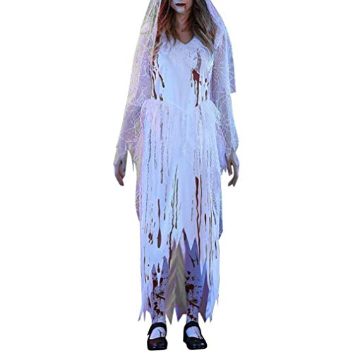 iQKA Women Blood White Ghost Corpse Bride Dress Adult Halloween Cosplay Party -