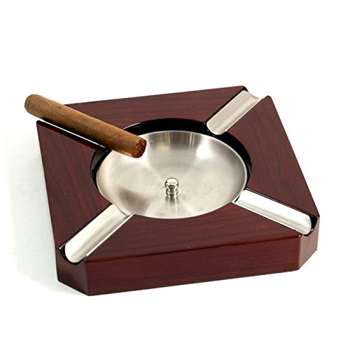 Stainless Steel and Walnut Cigar Ashtray