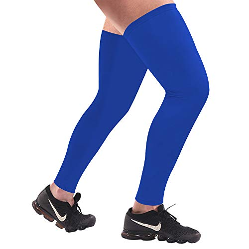 Sports Compression UV Long Leg Sleeves in Running Basketball Cycling (Black White, 1 Pair) (Blue, M)
