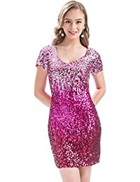 Women s Sequin Glitter Short Sleeve Dress Sexy V Neck Mini Party Club  Bodycon Gowns fed50c2f9