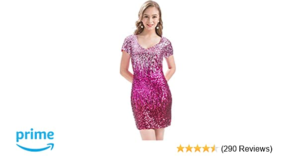 Amazon.com  MANER Women s Sequin Glitter Short Sleeve Dress Sexy V Neck  Mini Party Club Bodycon Gowns  Clothing 417aaad7bbe7