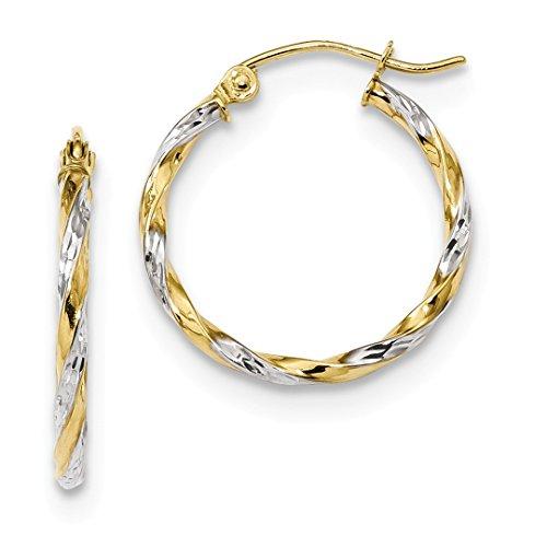ICE CARATS 10k Yellow Gold Twisted Hoop Earrings Ear Hoops Set Fine Jewelry Gift Set For Women Heart