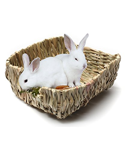 Rabbit Grass House, Hkim Natural Safe Hideaway Durable Chew Toy Mat Bed for Bunny/ Chinchillas/ Guinea pigs/ Ferret/ Small (Bunny Nest)