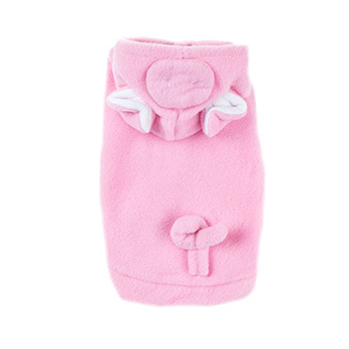 [Pig Dog Cat Puppies Pet Halloween Costumes Apparel Hoodies Coat With Warm Fleece Pink,Large] (Warm Costumes)