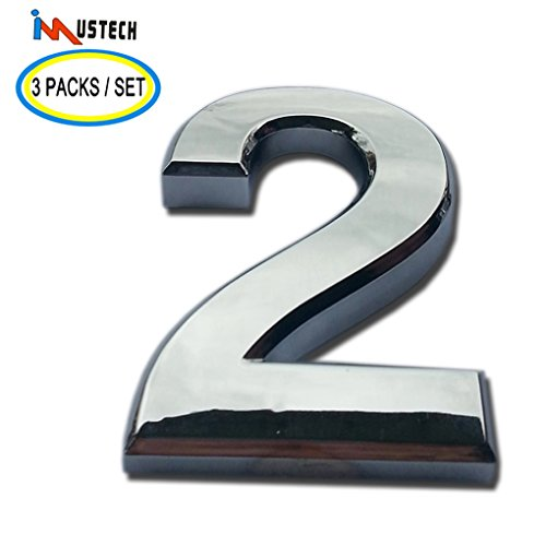 iMustech Mailbox Number, 3 Pcs of Number #2 Self-stick 3D Number Plaque, Silver Numbers Stickers, Adhesive Door Number, Apartment Number, Modern Hotel Number, 2-3/4 Inch (Lighted Mailbox)