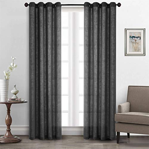 LoyoLady CUSTOM MADE Gray Solid Natural Linen Grommet Top Sheer Curtain Drapes Patio Window Treatment