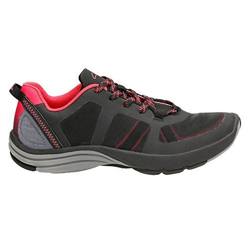 Clarks Women's Wave Kick Lace Up Shoe,Black Mesh,US 9.5 M