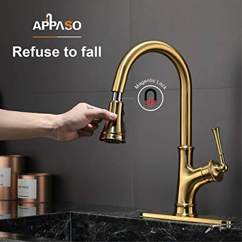 Gold Kitchen Faucet with Pull-Down Magnetic Docking Sprayer, Brushed Gold Single Handle 1 Hole High Arc Copper Pull Out Kitchen Sink Faucets, Champagne Bronze, APPASO