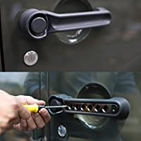 5pcs Door Aluminum Grab Handle Cover for Jeep 2007 - 2017 Jeep Wrangler JK 4 Door (Black)