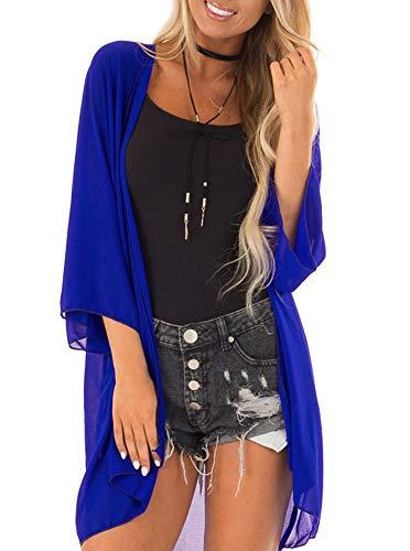 PINKMILLY Women 3/4 Sleeve Kimono Cover Up Sheer Chiffon Blouse Loose Long Cardigan Royal Blue Medium ()