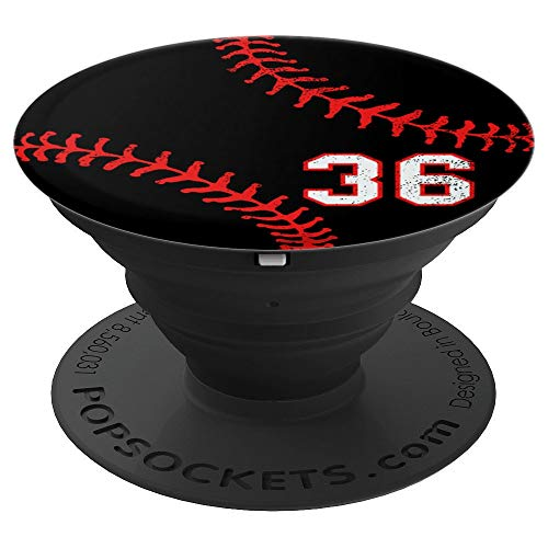 (Baseball number 36 in red and black phone stand - PopSockets Grip and Stand for Phones and Tablets)