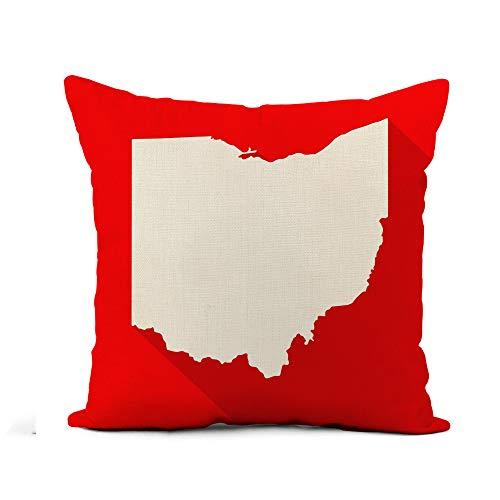 Awowee Flax Throw Pillow Cover Ohio White Map Border Flat Simple Long Shadow 20x20 Inches Pillowcase Home Decor Square Cotton Linen Pillow Case Cushion Cover (Rooms Cincinnati Patio Ohio)
