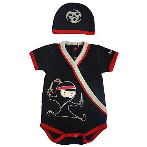 Sozo Baby Boys Ninja Bodysuit & Hat Set, Black, 0-3 Months