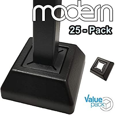 """Modern Flat Shoes for 1/2"""" Iron Balusters (25-Pack) Stair Railing Parts for Square Metal Scroll Basket Twist Knuckle Spindles NO Set Screw (Real Satin Black NOT Matte)"""