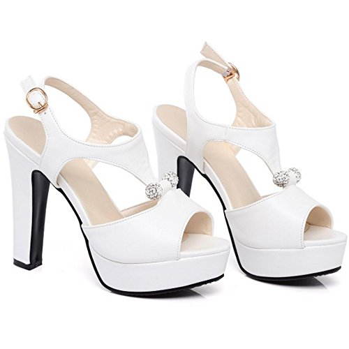 Wedding Heel White High Women Dress Shoes TAOFFEN Block Sandals back Sling qXA4Sw7A