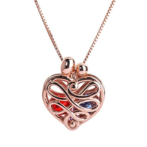 Loving Family - Rose Gold Plated Sterling Silver Small Heart Locket with 12 Birthstones - 20