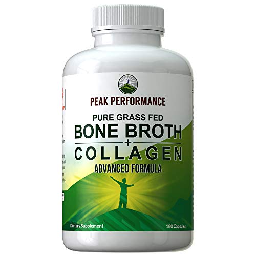 Bone Broth + Collagen Capsules. 180 Pills of Grass Fed Bone Broth + Collagen Protein Peptides. Contains All 3 Collagen Types: 1, 2, and 3. Pure Pasture Raised Paleo Friendly Tablets for Women and Men