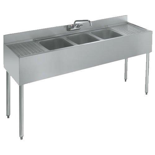 "Krowne Metal 18-83C 96"" Three-Compartment Bar Sink - 1800 Series"