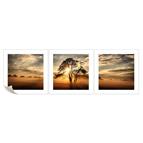 Vvovv Wall Decor - Modern Sunset Panoramic Landscape Canvas Wall Art Tree In Sunset