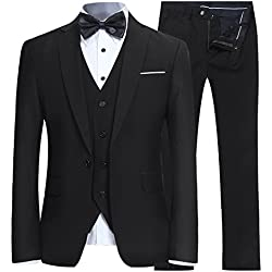 YFFUSHI Men's Slim Fit 3 Piece Suit One Button Blazer Tux Vest & Trousers