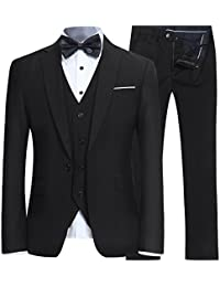 9d284cc4163 Men s Slim Fit 3 Piece Suit One Button Blazer Tux Vest   Trousers