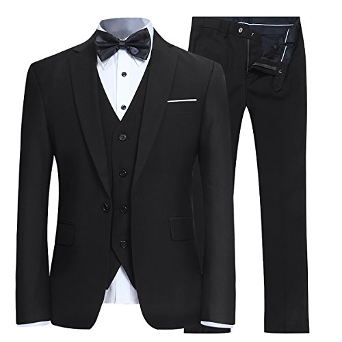 Men's Slim Fit 3 Piece Suit One Button Blazer Tux Vest & Trousers - Plain Black Suit