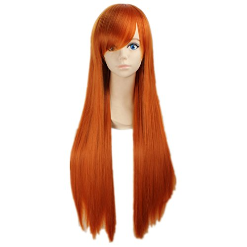 COSPLAZA Cosplay Wigs Straight Long Orange Fashion Girl Halloween Role Play Anime Hair with Bangs