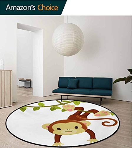 Monkey Green Rug - RUGSMAT Nursery Round Rugs for Bedroom,Cute Cartoon Monkey Hanging On Liana Playful Safari Character Cartoon Mascot Circle Rugs for Living Room,Diameter-35 Inch Brown Green Pink
