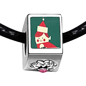 Chicforest Silver Plated Happy Xmas Snowman Photo Light Rose Crystal October Birthstone Flower Charm Beads Fits Pandora Bracelets