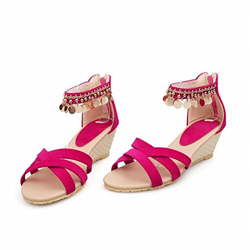 Charm Foot Mujeres Summer Fashion Tacón Medio Sandalias De Punta Abierta Rose Red