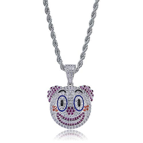 (MoCa Jewelry Unisex Hip Hop Iced Out Cat Dog Animal Emjoy Jack Skellington Pendant&Necklace with 24 Inch Stainless Steel Rope Chain for Men Women (Clown))