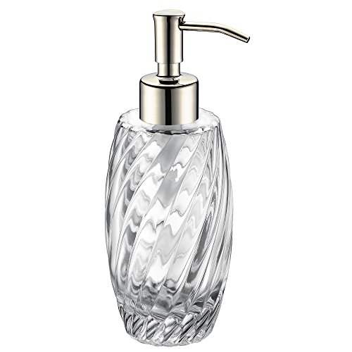 SUCASA Liquid Soap Dispenser Polished Chrome Stainless Steel Pump Head Designed 10 Ounce Glass Jar for Bathroom Countertop Hand Soap Shampoo Shower Gel Dispense - Soap Chrome Double