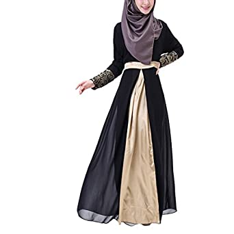Aivtalk Women Muslim Floral Chiffon Long Sleeves Maxi Abaya Party Dress