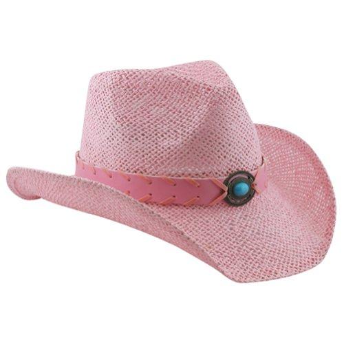 Foam Cowboy Hat Pink (Pink Shapeable Straw Western Cowboy Hat, Vegan Leather Trim W/ Bead Design)