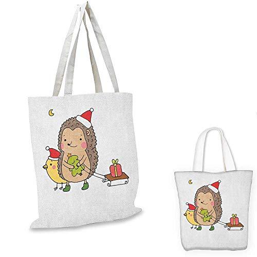 Hedgehog royal shopping bag Cartoon Hedgehog with Bird and a Christmas Tree Pulling Sled Holiday Themed Image funny reusable shopping bag Multicolor. 14