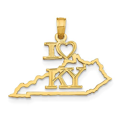 14k Yellow Gold Solid Kentucky State Pendant Charm Necklace Travel Transportation I Fine Jewelry Gifts For Women For Her