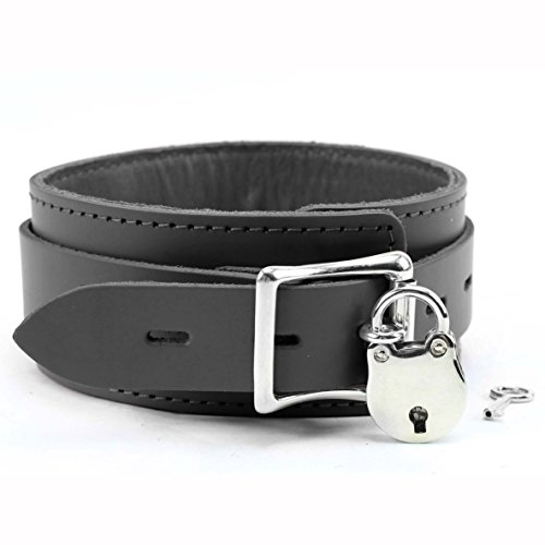 Amanda Lockable Collar Full Grain Leather (Black) by Leather Innovations