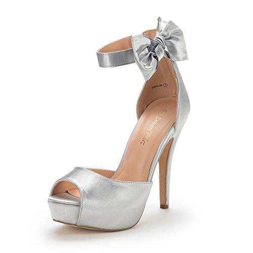 (DREAM PAIRS Women's SWAN-08 Silver Ankle Strap Heel Pump Shoes Sandals Size 8 M US)