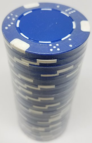 Poker Chips - (25) Blue Double Dice Mold 11.5 g Clay Composite