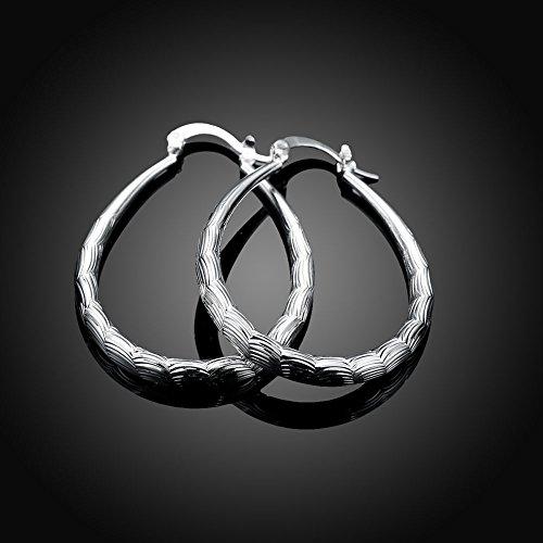Yuren 925 Sterling Silver Textured Hoop Earrings Eardrop for Women Girls Fashion Jewelry ()