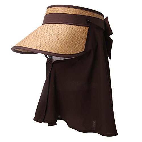 SIGGI Ladies Wide Brim Straw Visor Cap Rollable Summer Sun Hat w/Detachable Face Mask Neck Flap UPF50 ()
