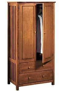Mission style 2 door Wardrobe, TWO-DOOR, LIGHT CHERRY