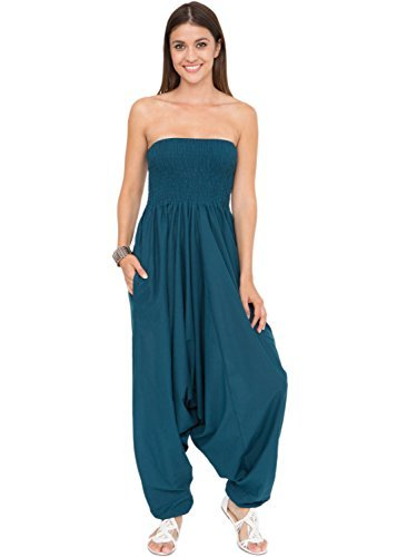 2 in 1 Convertible Cotton Maxi Harem Pants and Jumpsuit Teal,Teal,One Size ()