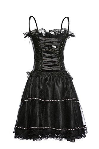 ZAMME Corsé vestido de mujer Overbust Push Up Corsé de Bustiers conjunto con falda de tutú Negro