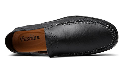 Simple stitching TDA Shoes Boat Loafers Leather Contrast Black Driving Manual Mens Comfort ExEw6FqXg