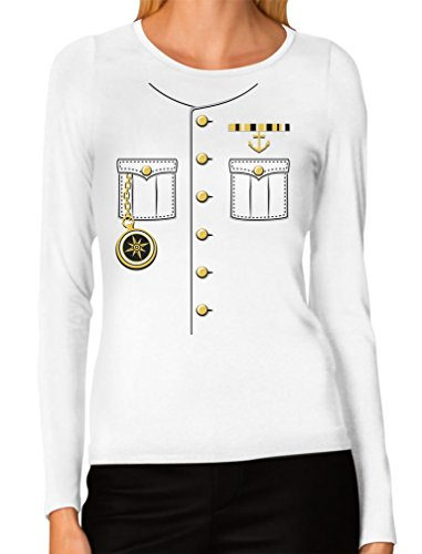 Ship Captain Halloween Costume Outfit Suit Women Long Sleeve T-Shirt X-Large White -